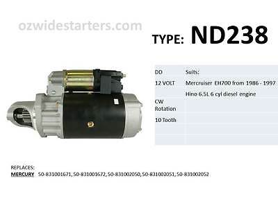 Mercruiser starter motor. suits EH700 with Hino 6.5L engine.