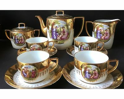 Antique Porcelain Royal Vienna Style Angelica Kauffman Love Story Coffee Tea Set