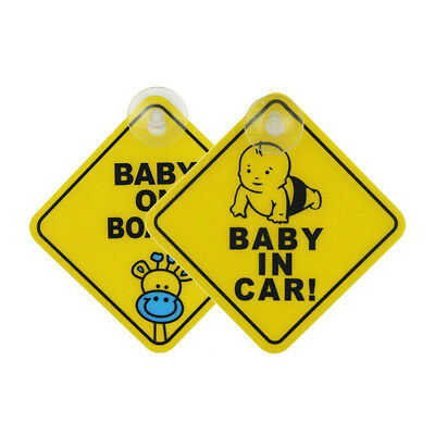2X Auto Baby Warning Safety Suction Sticker Baby on Board And in Car Cartoon New