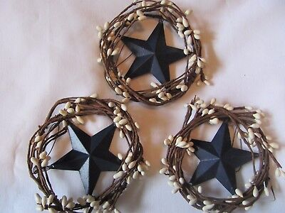 "Country Rustic Primitive 4"" Pip BERRY swag WREATH metal 3"" Blue STAR Lot of 3"