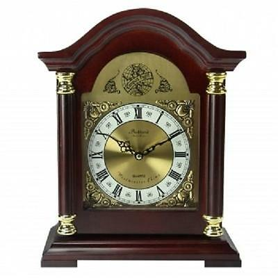 BEDFORD COLLECTION*Redwood Oak Finish MANTEL MANTLE Shelf Desk CLOCK*with CHIMES
