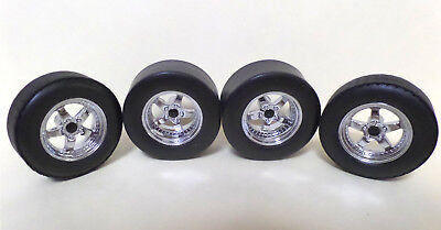 WHEELS - Set of 4 Chrome 5 Spoke with Disc Brakes & Calipers, Axles 1:18 scale