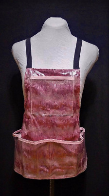 Vinyl Apron with Pockets, Pink Sequin