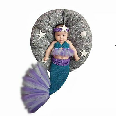 Newborn Baby Girl Boy Crochet Knitted Photo Photography Prop Mermaid Outfit Blue