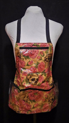 Vinyl Apron with Pockets, Skulls with Pink Roses, Alexander Henry