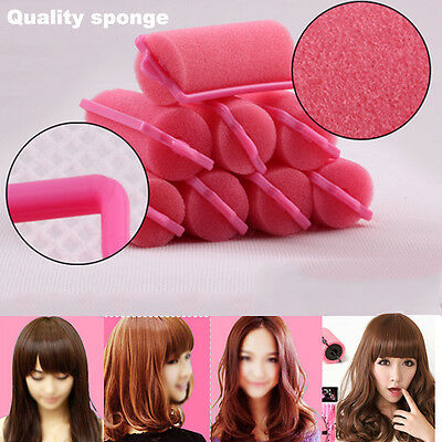 12Pcs Magic Sponge Foam Cushion Woman Hair Styling Rollers Curlers Twist Tool