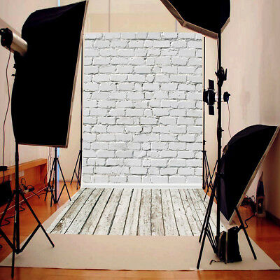 5x10FT White Brick Wall Wooden Floor Photography Backdrop Photo Background Prop