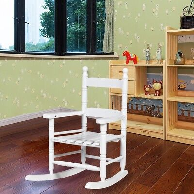 Kids Retro Wooden Rocking White Chair Bentwood Lounge Chair Relax Furniture US