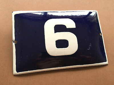 ANTIQUE VINTAGE FRENCH ENAMEL SIGN HOUSE NUMBER 6 DOOR GATE SIGN BLUE 1950's