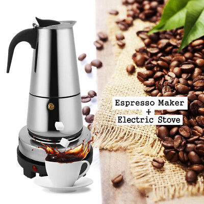 Espresso Moka Coffee Maker Pot Percolator Stainless Steel + Electric Stove 6-Cup