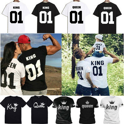 Couple Tops T-Shirt Matching Set Sweet Family Love King & Queen Clothes Tee Gift
