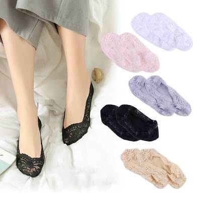 5 Pairs Women Lace Cotton Boat Socks Antiskid Invisible Low Cut Liner Socks