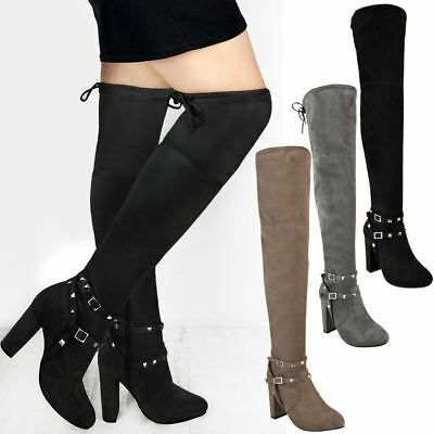 Womens Ladies Thigh High Over The Knee Boots Block Mid High Heels Stretchy Size