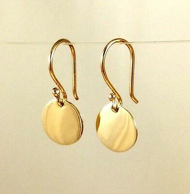 Solid 9ct Yellow Gold  9.5mm Drop Disc Earrings Polished Finish