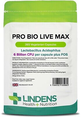 Probiotic Max (Acidophilus + FOS) with Prebiotic (365 pack)[Lindens 5989]