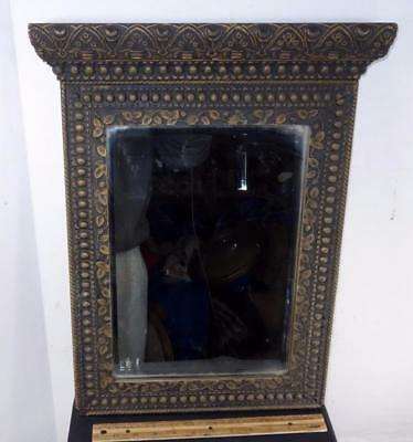 FANCY Antique Victorian Aesthetic Wood & Beveled Glass Mirror Frame !