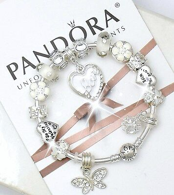 "Authentic Pandora Sterling Silver Bracelet ""A LOVE STORY!"" with European Charms."