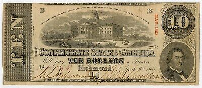 T-59 1863 $10 Ten Dollars Confederate States of America Note April 6, Cr-440, F