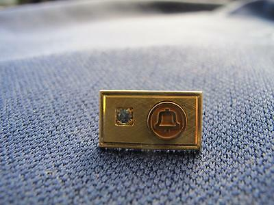RARE style BELL Telephone Employee Service Pin Award 10K Gold GF stone Vintage