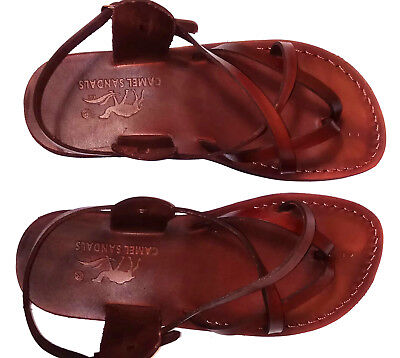 5b37275c8e9d Camel Jesus Sandals Brown Genuine Leather Greek Roman For Men US 5-12 EU 36
