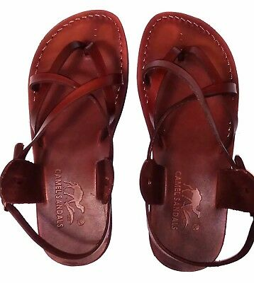 9ae861c585c5 Brown Leather Sandals Womens Gladiator Strap Biblical Jesus UK 3-8 EU 36-42