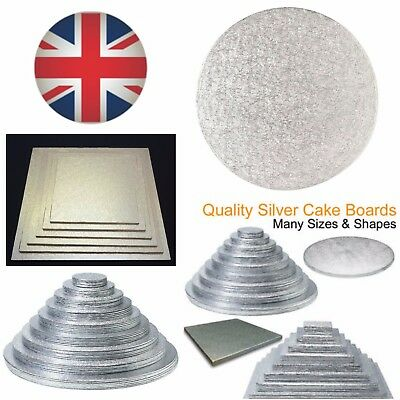 SILVER ROUND CAKE DISPLAY BOARDS SQUARE CUT EDGE CARD 1.5 - 2mm THICK ALL SIZES