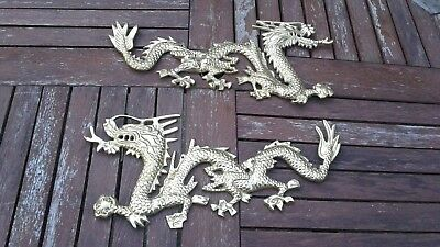 """Vintage Pair of Heavy Brass Dragon Wall Hanging Plaques    """"India""""  17 1/4"""""""