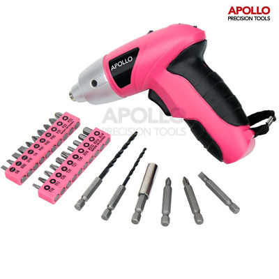 Apollo Pink 4.8V Electric Cordless Screwdriver with 26 Piece and Wood Drill Bit