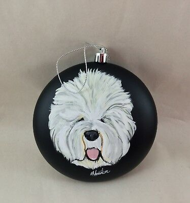 "hand painted Old English sheepdog 5"" Christmas ornament"
