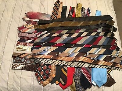 Vintage 1960s Lot of 30+ Mens Ties - Assorted Silk, Poly, Dacron - Skinny, Wide