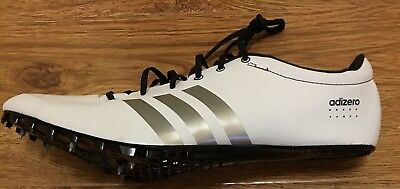 new concept b0988 a30cc NEW Adidas Adizero Prime SP Sprint Spikes Track Shoes White Silver Mens  12.5
