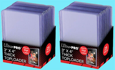 50 Ultra Pro 3x4 55PT THICK TOPLOADERS Rigid Clear Standard Size Trading Card