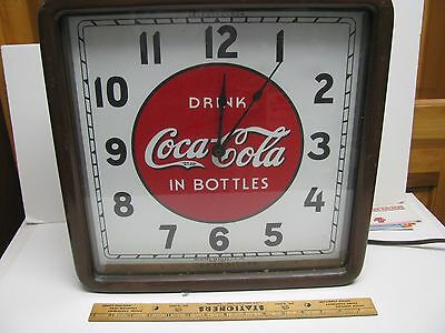 Coca-Cola Coke Clock Advertising Sign Wood Cased. Telechron Motor Soda Fountain