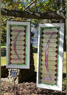 "Set Of (2) Antique Stained Leaded Glass Windows, ""pink Ribbons"", Pocono Mansion"
