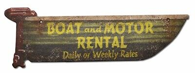 NEW! Boat and Motor Rental Vintage Cabin Sign Weathered Lake