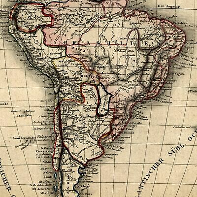 South America 1854 Biller uncommon old map hand color