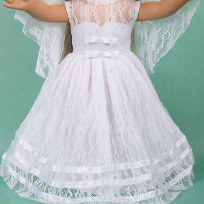 Handmade White Wedding Party Dress Clothes For 18inch American Girl Doll JR