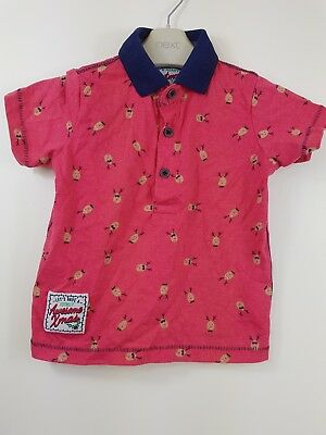 Rebel Baby Boys Red & Navy Blue Polo T-shirt Christmas Reindeer Age 18-24 Months