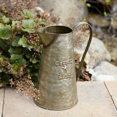 New Primitive French Chic Vintage  COUNTRY LIVING METAL PITCHER Rustic Tin Vase