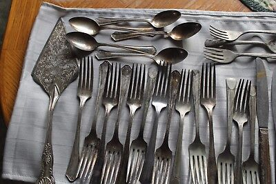 VTG 42 PC Silverware mixed pieces repurpose crafting steampunk