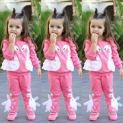 3D Swan Kids Baby Girl Outfit Clothes Tops T-shirt + Leggings Pants 2Pcs Set UK