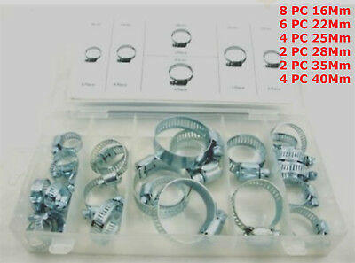 Assorted 26 PC Hose Clamps  Jubilee Clips Set 16mm,22mm,25mm,28mm,35mm,40mm