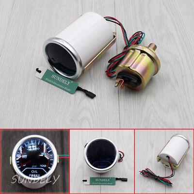"2"" 52MM CAR MOTOR WHITE LED OIL PRESS PRESSURE 0-100 Psi GAUGE METER SMOKE LENS."