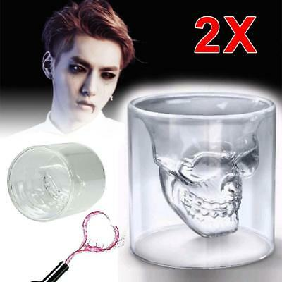 2X Crystal Skull Head Glass Cup Beer Vodka Cocktail Wine Drinkware Party Hot PK