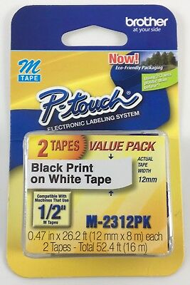 """Brother P-Touch 1/2"""" Width Black Print on White Tape 2 Pack M Tape M-2312pk"""