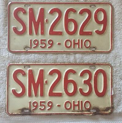 Good Solid Pair Of 1959 Ohio License Plates Lot Of 2. Free Shipping