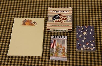 Longaberger Patriotic Notepad, Flag Tie-on, Deck of Cards, Mini Notepad