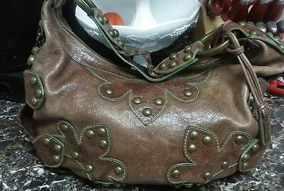 c38ac44954 Isabella Fiore Oasis Brown Studded Distressed Braided Leather Shoulder Hobo