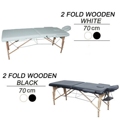 Professional 2 Folds Wooden portable Massage Table Black and White