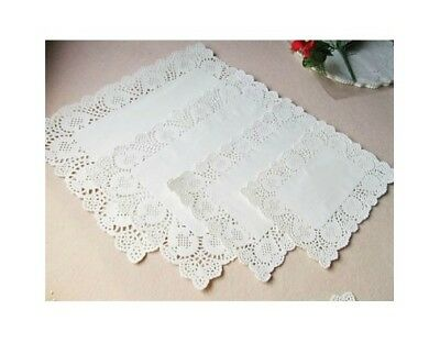 200 pcs 6.5*9 Inch Paper Doilies White Rectangle Hollow Lace Cakes Paper Doily